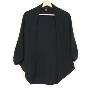 DKNY Cashmere Black Cacoon Open Cardigan Sweater